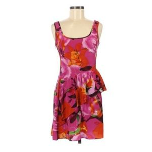 Trina Turk Silk Pink Floral Ruffle Dress